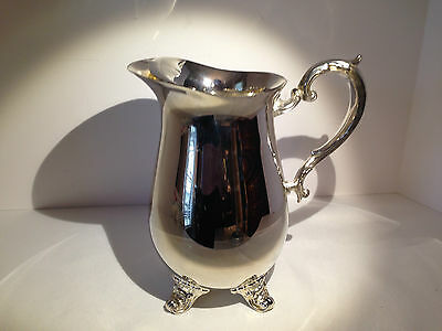 "Ornate Gorham Silverplate Over Brass Footed Pitcher with Ice Catcher 8 1/2"" tall"