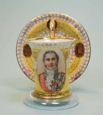 Antique French  Sevres ? Cup and Saucer with Portrait of French aristocracy # 3