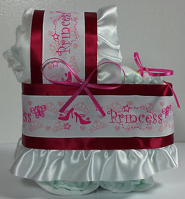 Diaper Cake Beautiful Bassinet Carriage Baby Shower Gift - Pink Princess Girls
