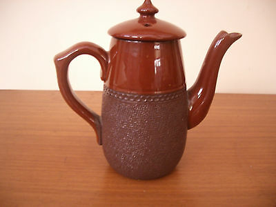 VINTAGE LANGLEY POTTERY TREACLE COFFEE POT TEXTURED LOWER HALF MADE IN ENGLAND