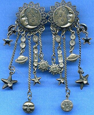 Vintage Banana Bob Chandelier Earrings-Moons, Suns, Saturns, Stars, Crystals
