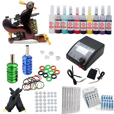 New Complete Starter Tattoo Kit One Machine Guns 10 color inks Power Supply Set