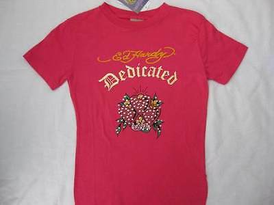 ED HARDY girls kids size 12 large pink rhinestones t-shirt tee top hearts NEW