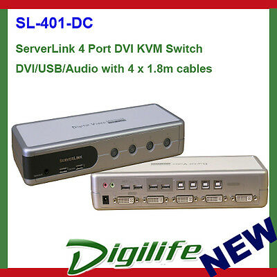 ServerLink 4 Port DVI KVM Switch DVI/USB/Audio with 4 x 1.8m cables (SL-401-DC)