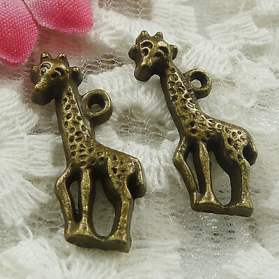 Free Ship 180 pieces bronze plated giraffe charms 25x10mm #1780