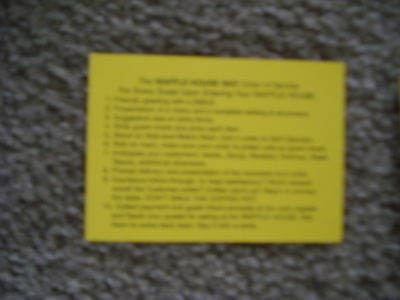 WAFFLE HOUSE --THE WAFFLE HOUSE WAY ORDER OF SERVICE CARD
