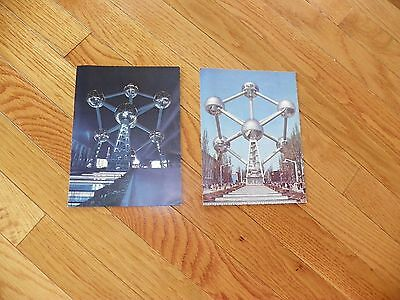 LOT OF 2 VINTAGE ATOMIUM BRUSSELS 1 NIGHT 1 DAY POSTCARDS STAMPED 1950S? UNUSED