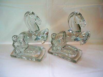 Vintage L.E. Smith Pair of  Rearing Horse Clear Glass Bookends 1940's Damaged
