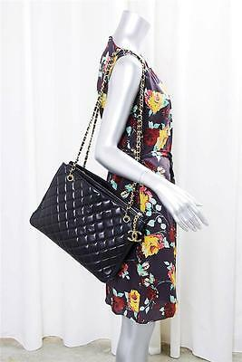 CHANEL Vintage Classic Quilted Black Leather Tote Gold Chain Bag Handbag Purse