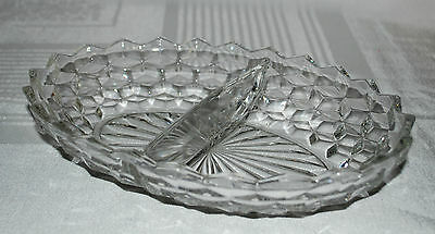 """Vtg Authenic Fostoria American Cubist Oval Divided Relish Serving Dish Bowl 10"""""""