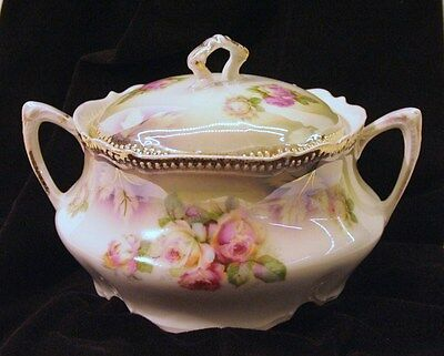 Antique (1914-1918) P.K. Silesia Fine Porcelain Covered Bowl Rose Pattern
