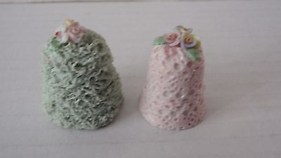 PAIR OF IRISH DRESDEN THIMBLES ~ GREEN & PINK DECORATED WITH FLOWERS