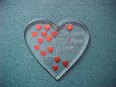 Vintage Miniature Acrylic The Spirit of Christmas is Love Ornament