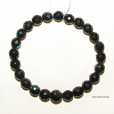 24 old antique bohemian/czech faceted black iridescent beads african trade #212
