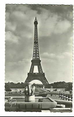 Old Souvenir Real Picture Postcard Paris La Tour Eiffel Tower GUY Original Stamp