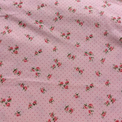 Vintage Brushed Cotton Small Pink Floral Spot Fabric Fine Soft  Baby Sewing  NOS