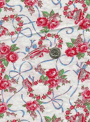 Vintage Feedsack Fabric Chic Pink Rose, Ladies Hat, Ribbons, Bows, Quilt, Sewing