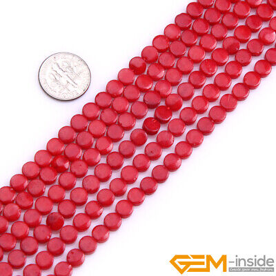 Red White Pink Coral Gemstone Coin Flat Loose Beads For Jewelry Making 15''
