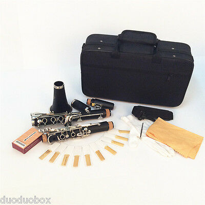 Clarinet Bakelite 17 Key B Flat Soprano with Cork Grease Cloth Gloves 10 Reeds