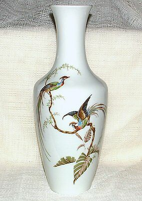 AK Kaiser Porcelain TALL VASE 13.75ins - Pheasants/Exotic BIRDS