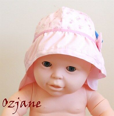 Baby Girls Toddler Sun Hat Pink Flowery With Bow Legionnaire Tu 0 To 3 Mnths