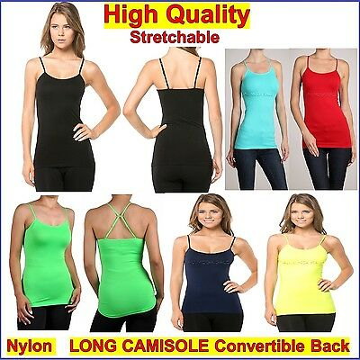 Basic Long Cami Tight Women Singlet Top Spaghetti Strap Spandex Convertible