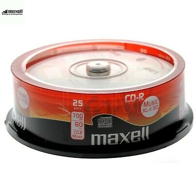 MAXELL CD-R XLII 700MB 52x Speed 80min Recordable Digital Audio Discs Spindle 25