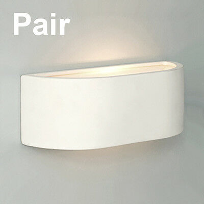 Pair of Mini White Ceramic Curved Modern Indoor Up & Down Compact Wall Lights