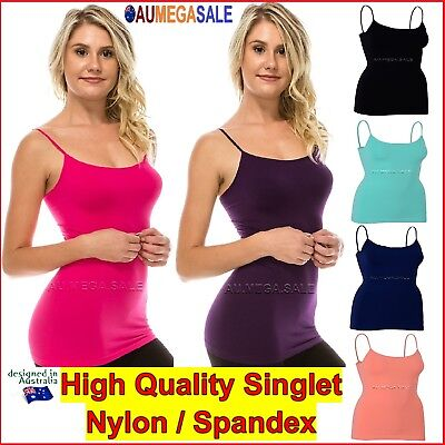 Plus Size Basic Long Cami Tight Women Singlet Top Spandex 8 10 12 14 16 18 20