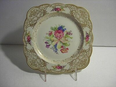 ROYAL BAYREUTH   SQUARE LUNCHEON  PLATE WITH FLOWERS AND GOLD TRIM 10 avail