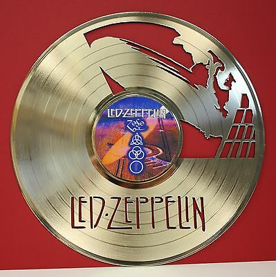 """Led Zeppelin """"ZoSo"""" Laser Cut Gold LP Record Album Limited Edition Wall Art"""