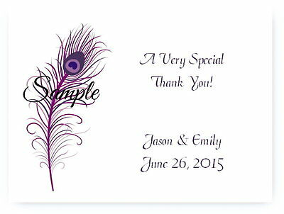 100 Personalized Custom Purple Peacock Wedding Bridal Thank You Cards