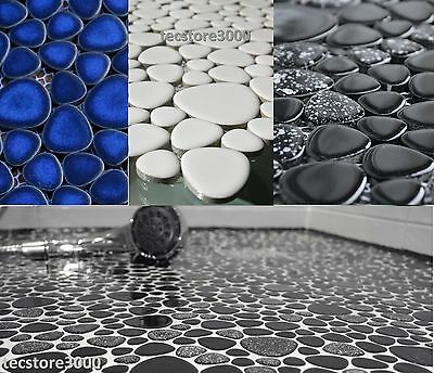 "Ceramic Mosaic Tiles ""Pebbles"" in three different colours: white, blue, black"