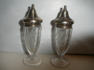 Vintage sterling silver salt pepper shakes with etched crystal glass  4 3/4""
