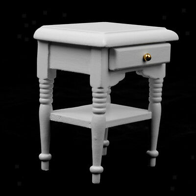 Dollhouse Miniature Furniture Wooden White Bedside Table Nightstand Cabinet