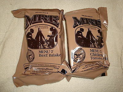 2 Military MRE Menu 7 & 5 Meals Ready to Eat Emergency Survival Camping Food NIP