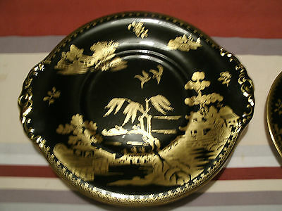 RARE VINTAGE BOOTHS WILLOW BLACK AND GOLD  CAKE PLATE 1906-1930s