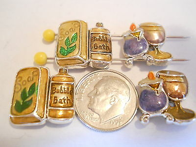 "4 SILVER PLATED & ENAMEL ""A VISIT TO THE SPA"" 2 HOLE SLIDER SPACER BEADS BAR"