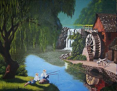 """ORIGINAL 18"""" x 14"""" Oil Painting on Canvas Signed by Artist...""""Old Mill Pond"""""""