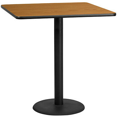 42'' Square Natural Laminate Table Top With 24'' Round Bar Height Base