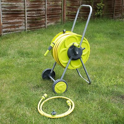 Set Of 25M Hose & Reel Troley Garden Watering Pipe Cart Standing Winder Tube