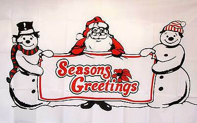 3' X 5' SEASONS GREETINGS polyester flag w/ grommets. Banner Sign Display
