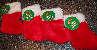 """Christmas Traditional Red Plush Stocking 6"""" x 3 1/2"""" Lot of (4)"""