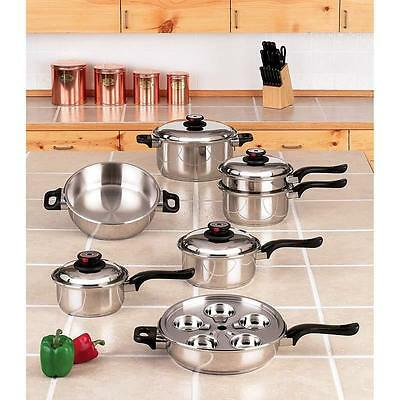 Cookware Set 17 Piece World's Finest 7 Ply Steam Control Stainless Steel New