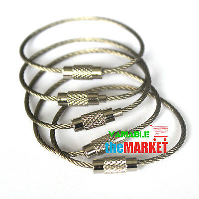 5pcs 110mm Aircraft Cable Stainless Steel Wire EDC Key Chain Rings