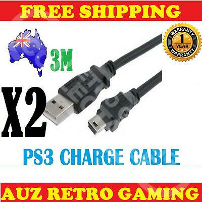 2x 3m USB Power Charge Charger Cable Cord Playstation 3 Game Controller PS3