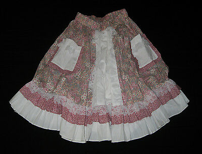 Ruffle Collection Pink White Lace Western Square Dance Country Lolita Skirt M