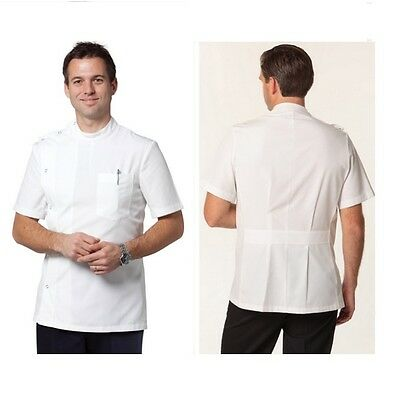 Mens Womens Short Sleeve Jacket Lab Coat Hospitality Chef Doctors White Button