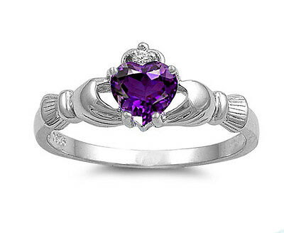 .925 Sterling Silver Simulated Amethyst CZ Irish Heart Claddagh Promise Ring