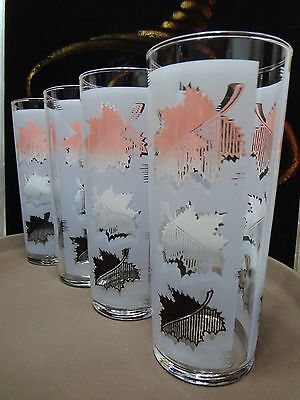 4 Vintage 1960s Libbey Falling Leaves (Pink) Pattern Glass Tumblers (A)
